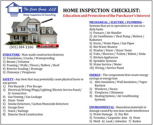 Maryland MD Home Inspection Checklist 8 Home Inspection Experts   Working for You!